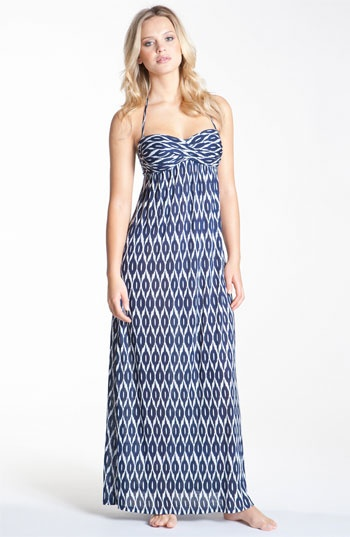Robin Piccone Ikat Print Strapless Cover-Up Dress - Versatile enough to do double duty away from the pool. Just got this today it's more navy than this lighter blue