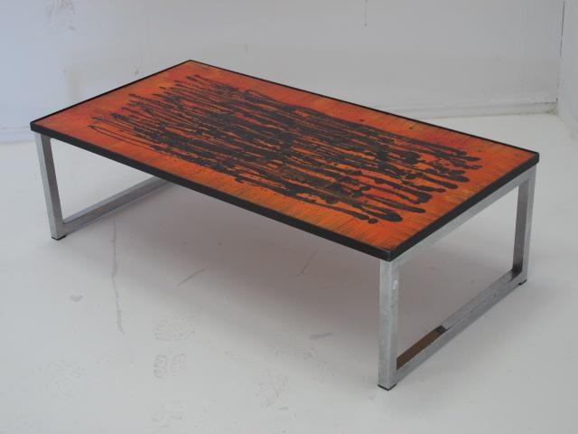 Vintage oranje belarti salontafel retro orange coffee for Orange coffee table