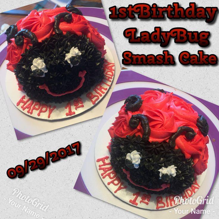 1st Birthday ladybug smash cake.  Funfetti & w/frosting & decoration. 09/29/2017 #smashcake #firstbirthday #1stbirthday