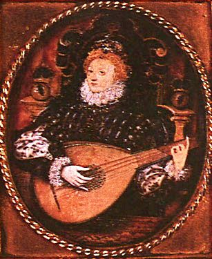 A miniature portrait of Queen Elizabeth I playing the lute, commissioned by her cousin, Henry Carey, 1st Baron Hunsdon. Painted by Nicholas Hilliard c. 1580. The Bridgeman Art Library, London