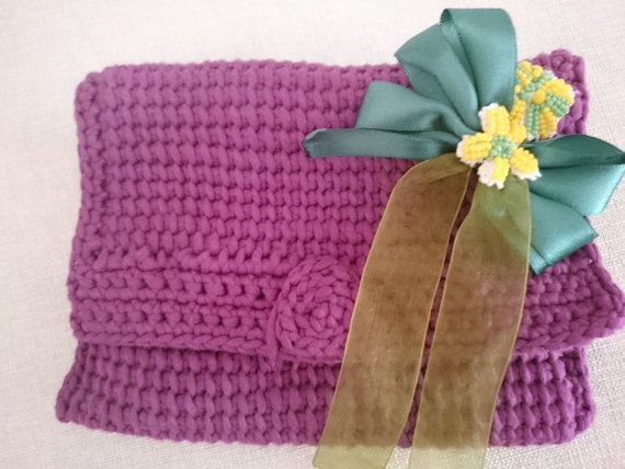 Purple Crochet Clutch  Elegant Purse  by FashionMeAccessories