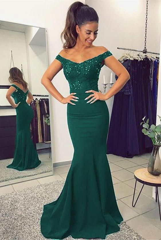 Green Mermaid Prom Dress For Teens, Prom Dresses, Graduation School Party Gown, DT0219