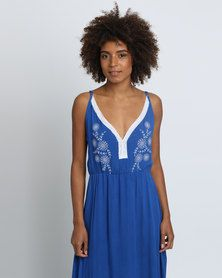 Utopia Maxi Dress With White Embroidery Cobalt