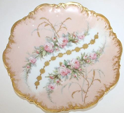 Antieke Franse Limoges Roze Rozen Plate