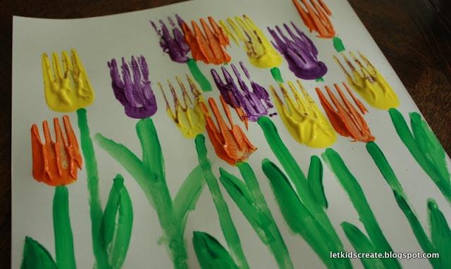Spring Tulip Paintings using forks