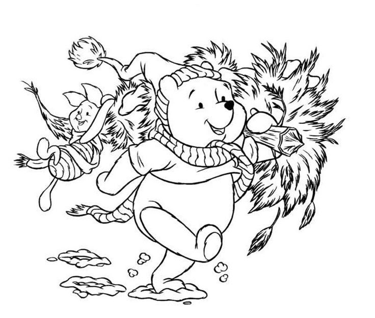 winnie and piglet bringing christmas tree coloring pages for kids printable christmas disney coloring pages for kids - Disney Baby Piglet Coloring Pages