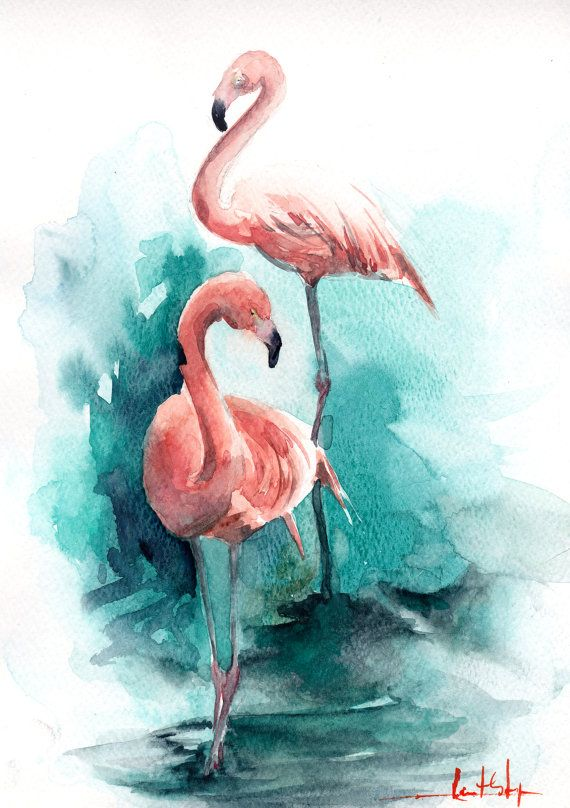 Pink Flamingos Original Watercolor Painting Color theme: pink and emerald green Abstract background Bird Watercolour Art  One of a Kind Watercolour Art