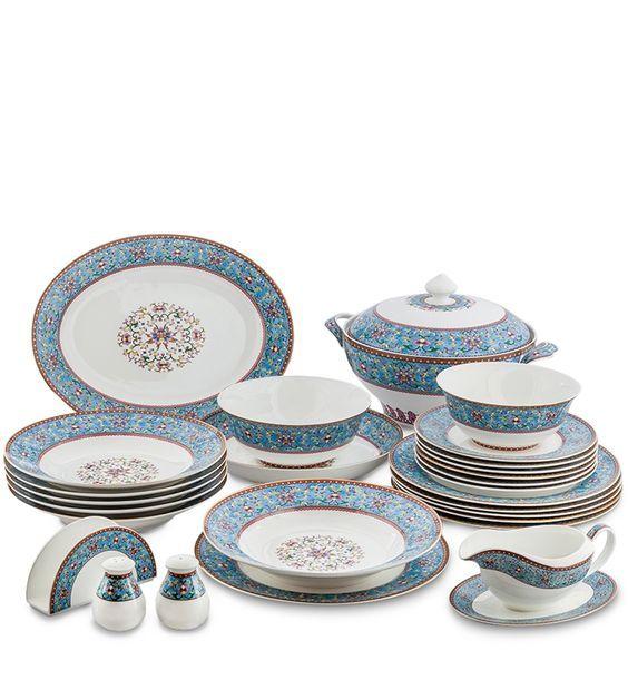 "Столовый сервиз из костяного фарфора на 6 персон ""Арабески"" JK-174 (Arabesca Blue Pavone) / Костяной фарфор PAVONE luxury / Столовая посуда / Каталог / R-Gifts – интернет магазин подарков и сувениров.   #dinnerware #porcelain #pavone #gifts #giftshop #подарок#фарфор #столовыйсервиз #столовыйнабор #сервировка"