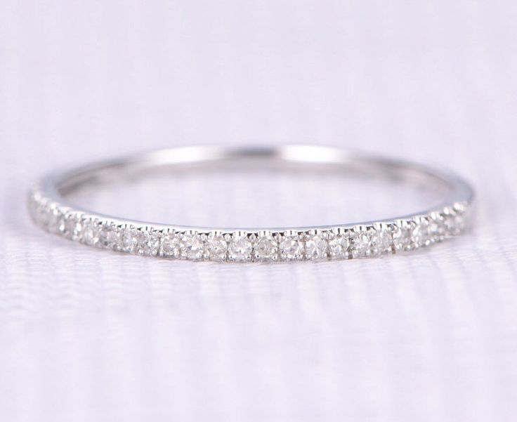 Natural diamond Wedding ring,Anniversary ring,1.2mm width,14k White gold,Half Eternity Matching Band,Personalized for her/him,Custom ring by milegem on Etsy https://www.etsy.com/listing/269756274/natural-diamond-wedding-ringanniversary
