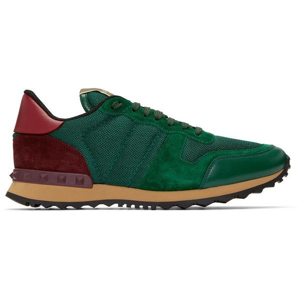 Valentino Green Mesh Rockrunner Sneakers ($535) ❤ liked on Polyvore featuring men's fashion, men's shoes, men's sneakers, mens mesh sneakers, mens lace up shoes, mens mesh shoes, mens green shoes and valentino mens sneakers