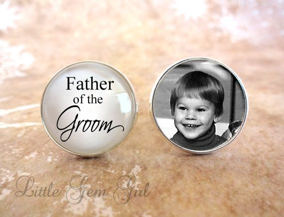 Father of the Groom Cuff Links  Custom Photo by LittleGemGirl