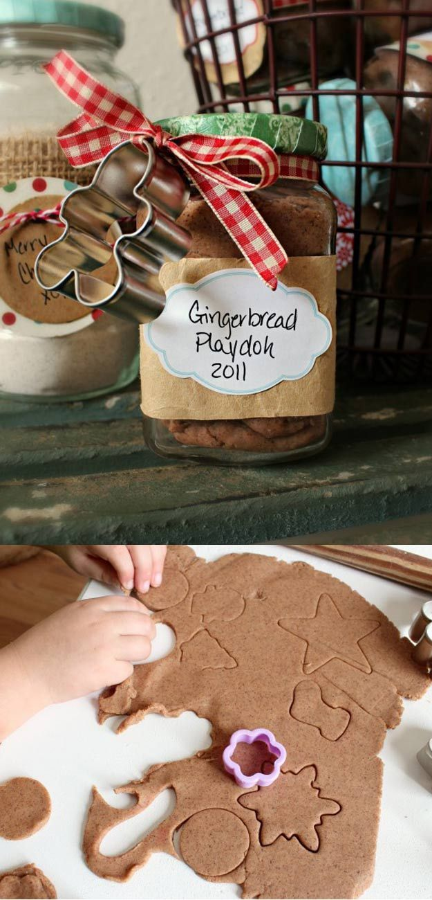 Homemade DIY Gifts in A Jar | Best Mason Jar Cookie Mixes and Recipes, Alcohol Mixers | Fun Gift Ideas for Men, Women, Teens, Kids, Teacher, Mom. Christmas, Holiday, Birthday and Easy Last Minute Gifts | Ginger Bread Play Doh Gift |  http://diyjoy.com/diy-gifts-in-a-jar