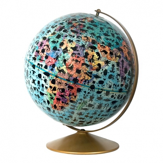 A world map globe covered with animal silhouettes. It's a fun twist on a regular globe.