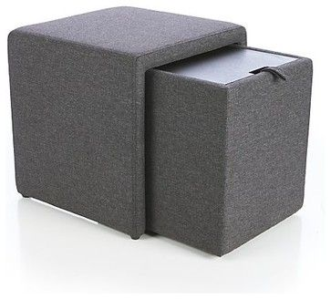 Stash Gray Storage Ottoman - contemporary - Ottomans And Cubes - Crate&Barrel