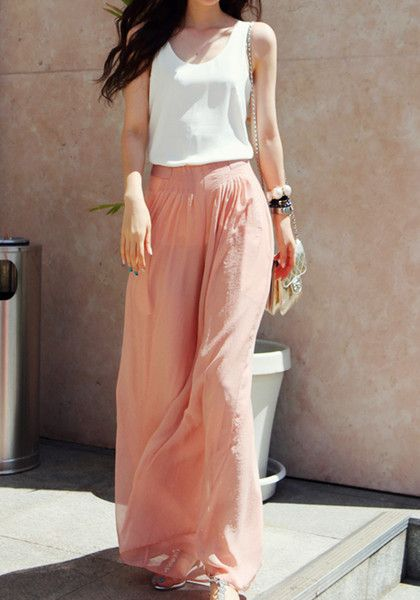 Chiffon Wide Maxi Pants  Not normally into this type of clothes, but theses are too cute