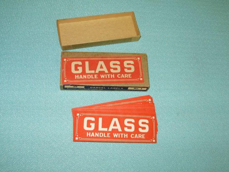 VINTAGE DENNISON MFG.CO.OF CANADA LTD.NO.1 PARCEL LABELS/BOX/GLASS HANDLE WITH C #DENNISON