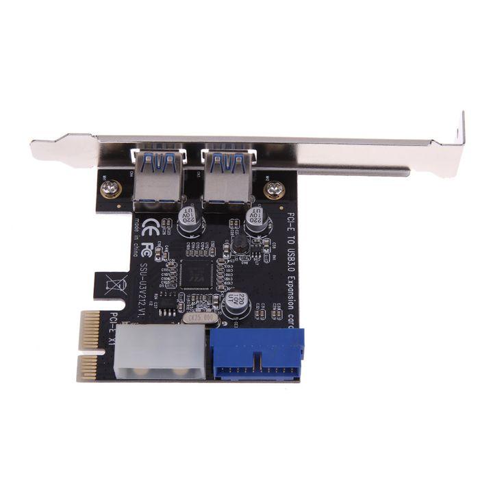 USB 3.0 PCI-E Expansion Card External 2 Port USB3.0 + Internal 19pin Header PCIe Card 4pin IDE Power Connector High Quality