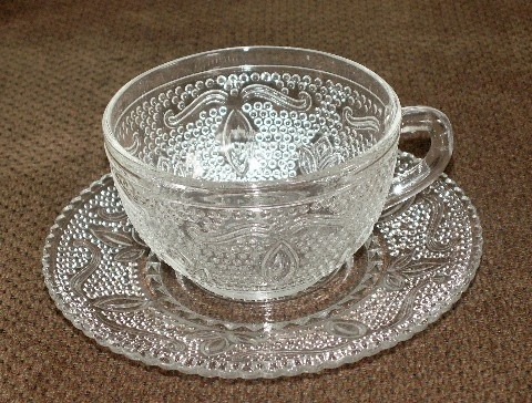 Federal Glass Heritage Clear Cup Saucer Sets.