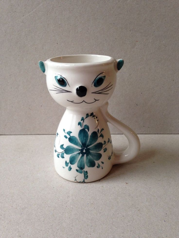 Vintage Ceramic Cat Egg Cup Blue & White Made In Portugal | eBay