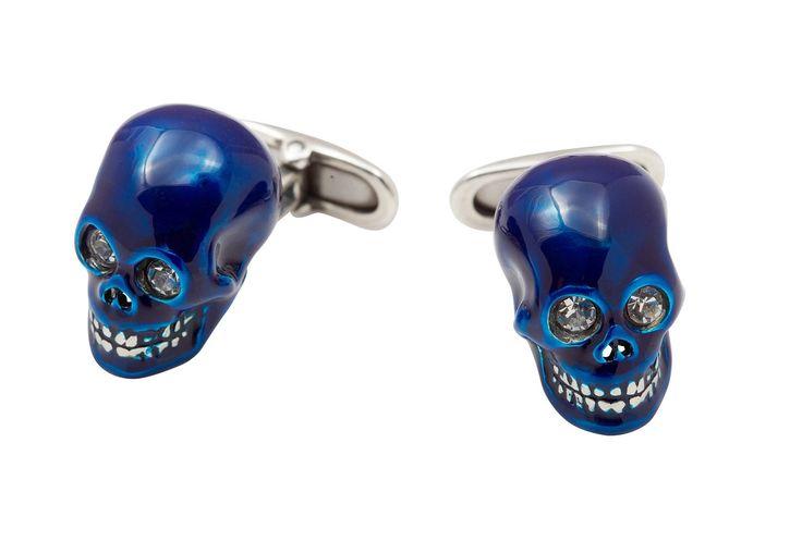 Sterling Silver Enamelled Dark Blue Skull cufflinks NEW by StartJewellery on Etsy
