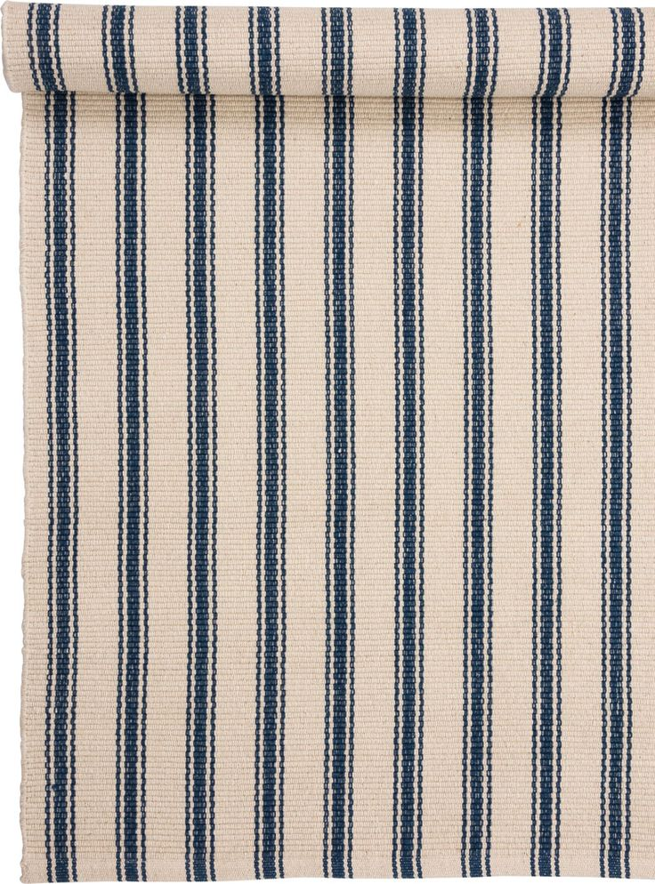 Blue and Cream Striped Rug