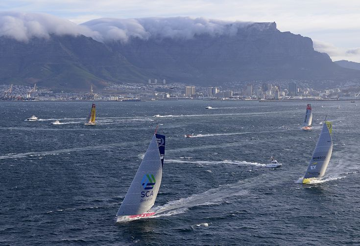 CAPE TOWN, SOUTH AFRICA - NOVEMBER 19:  In this handout image provided by the Volvo Ocean Race, Team SCA leads out of Cape Town during the start of Leg 2 from Cape Town to Abu Dhabi on November 19, 2014 in Cape Town, South Africa. The Volvo Ocean Race 2014-15 is the 12th running of this ocean marathon. Starting from Alicante in Spain on October 04, 2014, the route, spanning some 39,379 nautical miles, visits 11 ports in eleven countries (Spain, South Africa, United Arab Emirates, China, New…