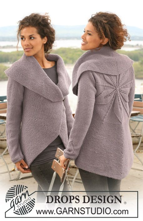 """DROPS jacket knitted in a circle in """"Nepal"""" with leaf pattern. Size S to XXXL ~ DROPS Design"""