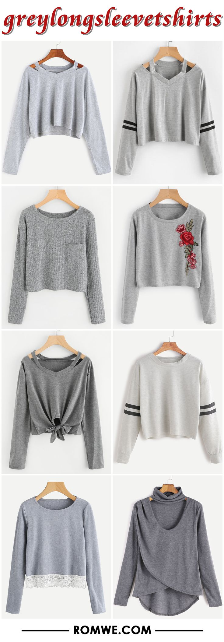 grey long sleeve t shirts from romwe.com