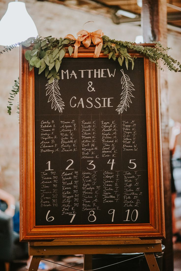 Real Wedding: Cassie+Matthew | ChicagoStyle Weddings  wedding, wedding inspiration, weddings, reception, wedding reception, wedding receptions, wedding reception inspiration, seating chart, wedding seating chart, handwritten wedding seating chart, cute wedding seating chart, chalkboard wedding seating chart