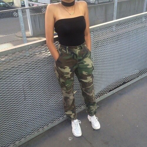 786badbd81 Camo pants   black tube top.