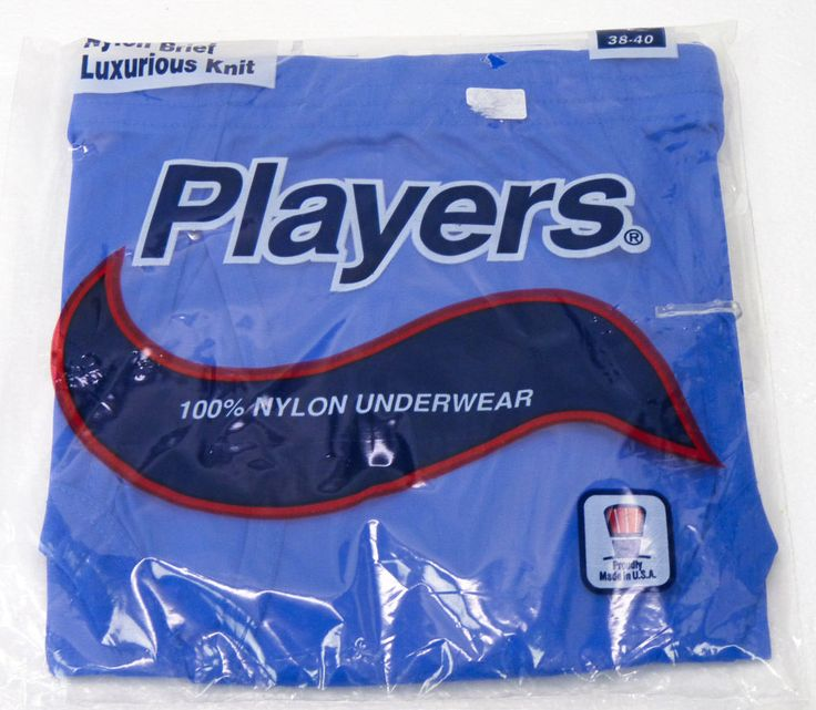 NOS Vintage Players 100% Nylon Briefs Underwear Mens L 38-40 BLUE 80s 90s NOS #Players