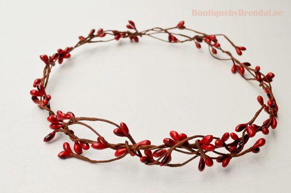 BRENDA LEE Red pip berry head wreath/hair by BoutiquebyBrendaLee, $25.90
