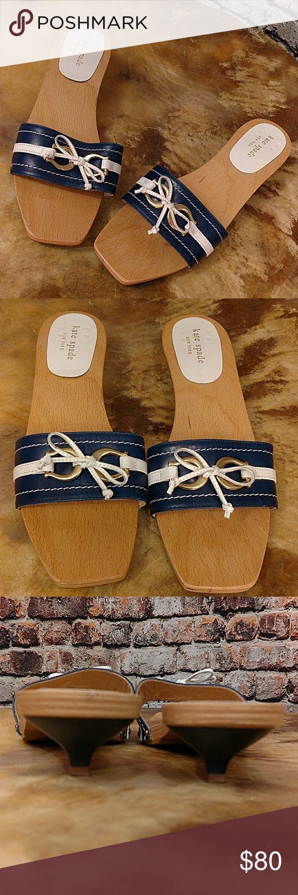 """Kate Spade Nautical Slide Shoes Size 8 Fun summer Kate Spade slide sandals. Wood sole with blue and white vamp, gold tone accents and white bow. Navy blue 1.25"""" kitten heels. Size 8. kate spade Shoes Sandals"""