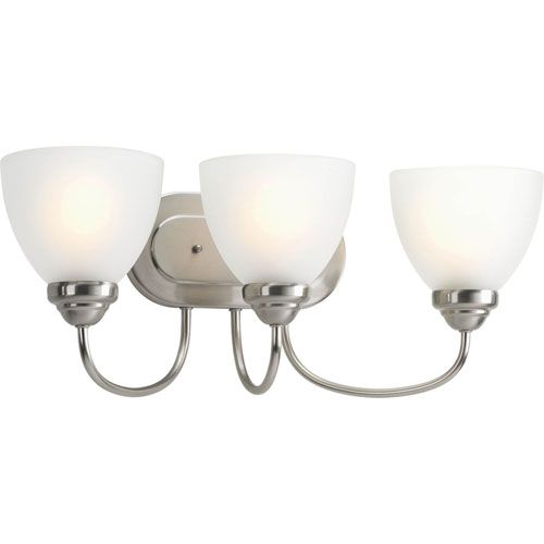 Heart Brushed Nickel Three-Light Bath Fixture with Etched Glass Diffuser