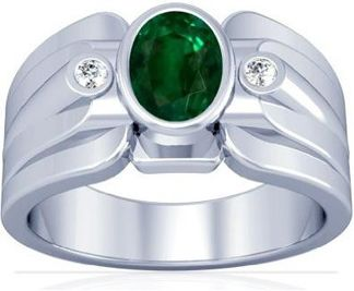 Mens Emerald Ring In Platinum With 2.87 Carats Oval Cut Emerald