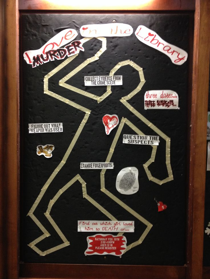 Library murder mystery bulletin board valentines day