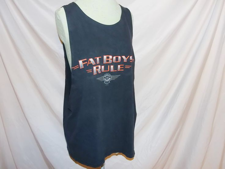 Work Out Tank,Upcycled Vintage ,Harley Davidson T Shirt, Recycled, Fat Boys Rule, Unisex, Men's XL, Women's XXL, Athletic Wear, Gym Wear by Renewed4UBoutique on Etsy