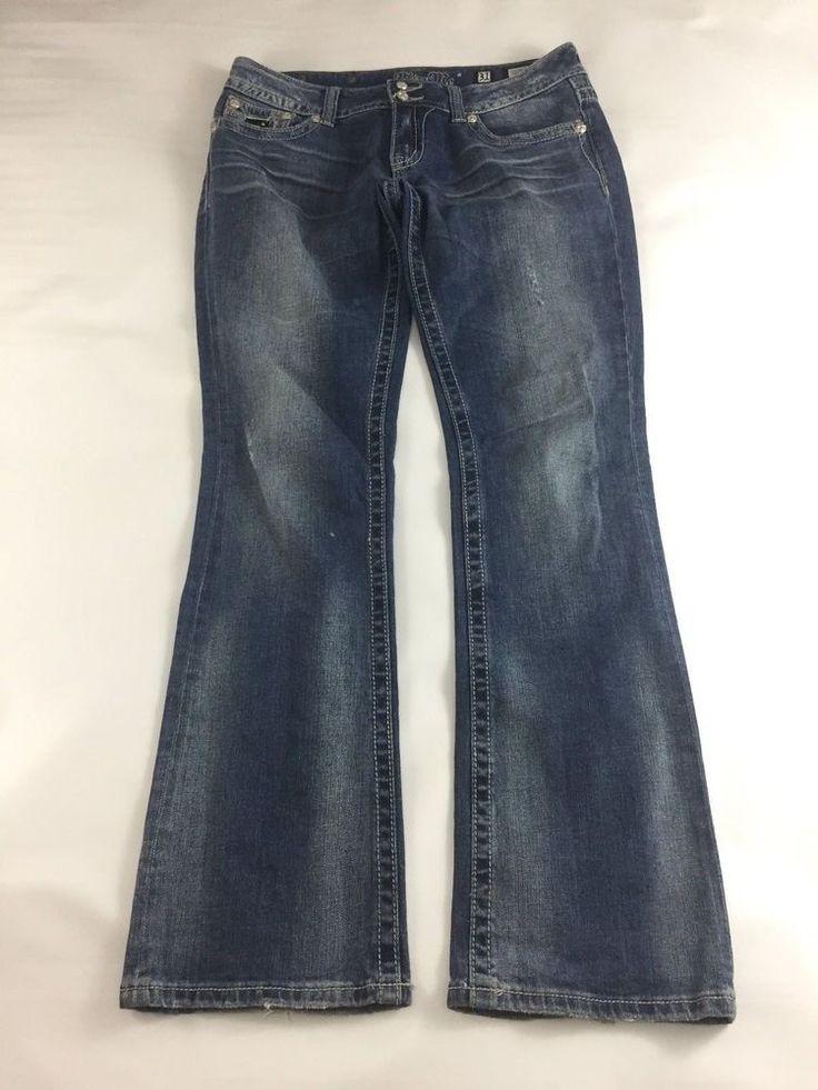 Miss Me Jeans Womens Boot Cut Size 31 Dark Wash Embellished Flap Pockets #MissMe #BootCut
