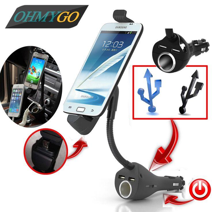 Universal Car Phone Charger Holder Mount  Cigarette Lighter for Samsung Lenovo Smartphones With Dual USB Charger