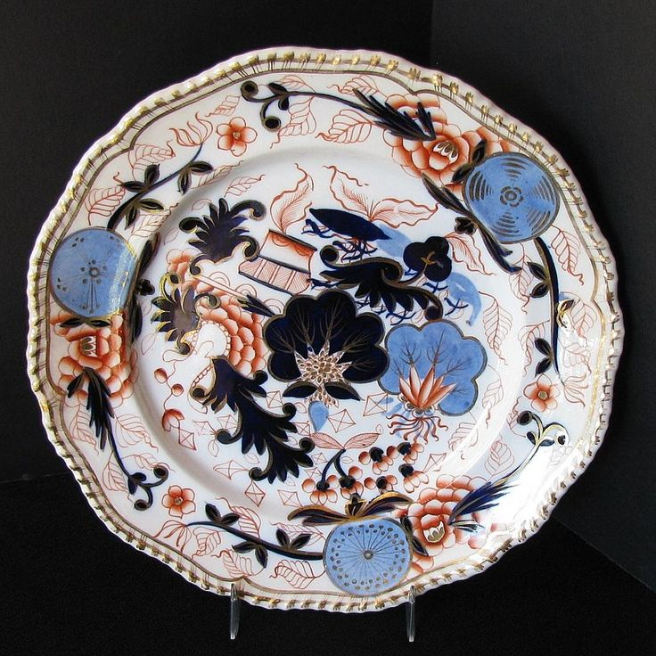 Chamberlain Worcester Plate  Blue Ball Japan  Antique Early 19th C English Imari & 94 best English Plates Antique 19th C images on Pinterest | Dishes ...