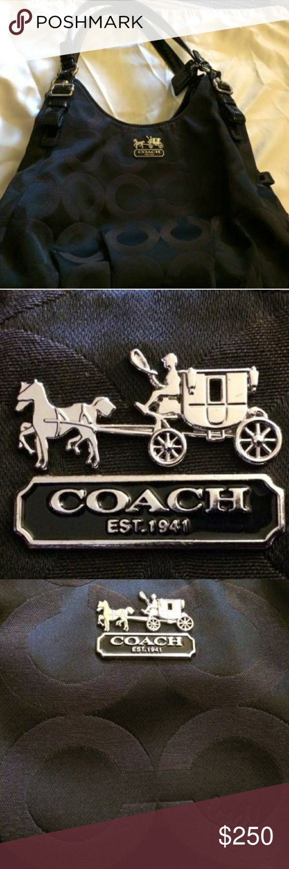Coach purse with Coach dust bag Brand name : Coach  Classic Coach purse  Black with red lining  Height (without straps ): 12 inches  Width: 14 inches  Depth: 4 inches  Strap height : 10 inches  Comes with Coach purse and Coach dust cover Coach Bags Shoulder Bags