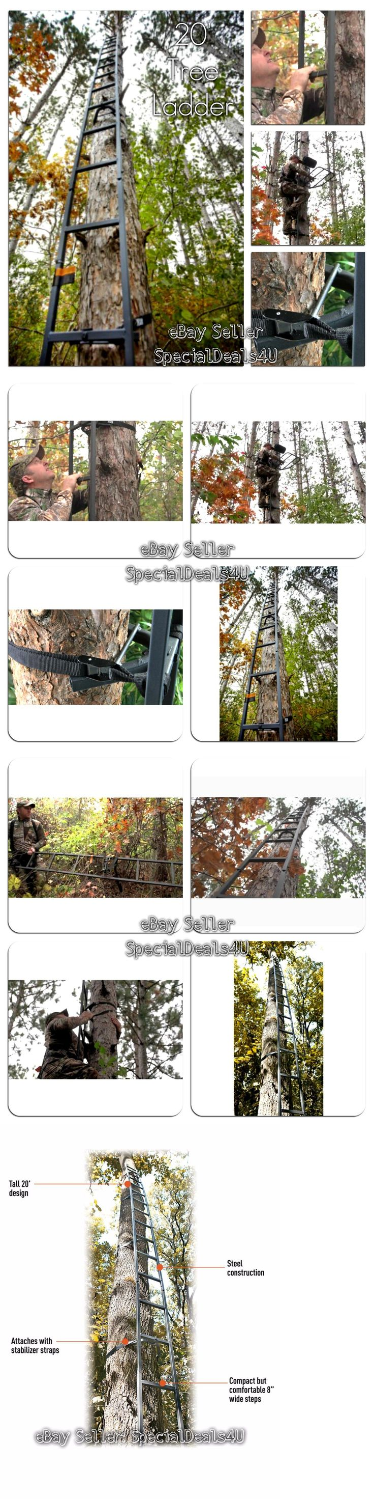 Tree Stands 52508: Deer Hunting Ladder Tree Stand 20Ft Sniper Rifle Bow Treestand Man Climbing New BUY IT NOW ONLY: $62.95