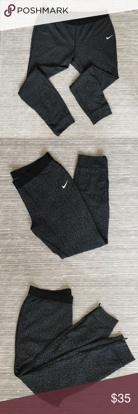 Nike Leopard Print Tennis Pants These tapered pants are in great used condition. They have zippers at the cuff for easy on/off over your sneakers. There is a deep pocket on the left side. Nike Pants Track Pants & Joggers