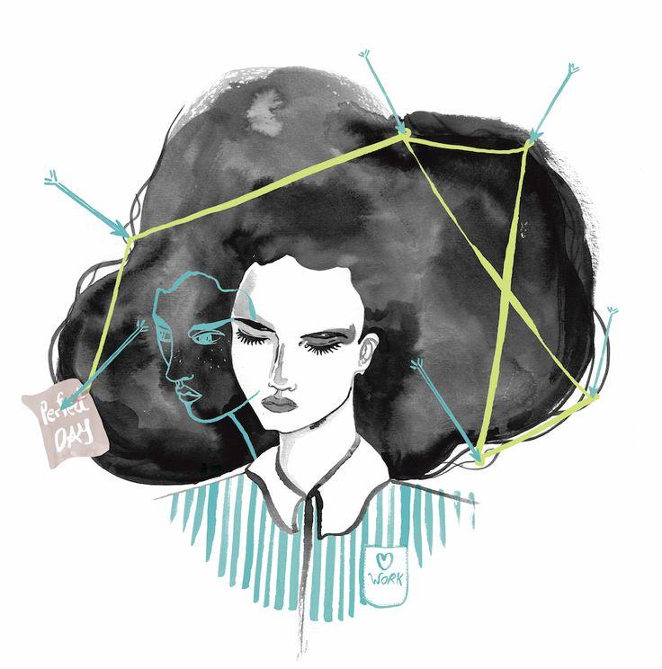 #laracostafreda #lovework #amorporeltrabajo #marieclairemagazine #ilustraciondemoda #fashionillustration #illustratorfrombarcelona #barcelona #girl #black #blackhair #melena #work #uniforme #flechas #heart #twofaces #dos