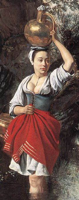 "Another amazing example of woman in her bodies.   Working woman 17th century - detail from Jan Sibrecht's ""The Wager"""