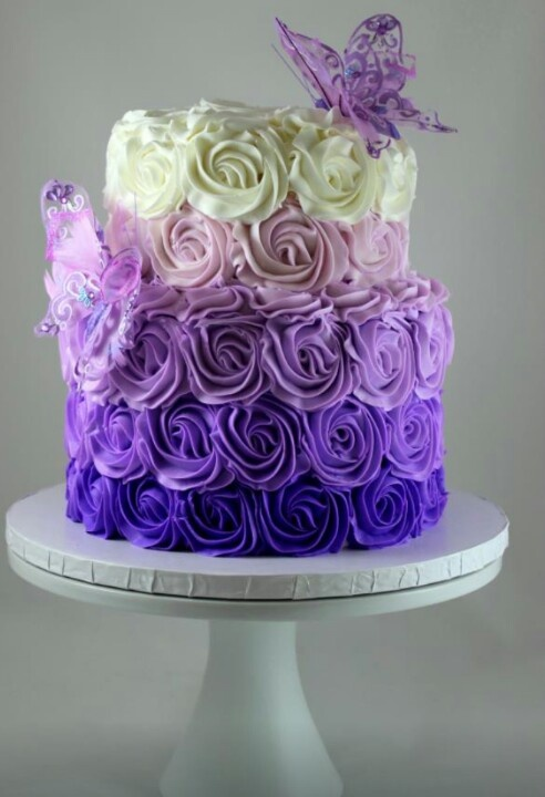 Ombre Purple Rosette Cake Butterfly Cake Frosted Cakery