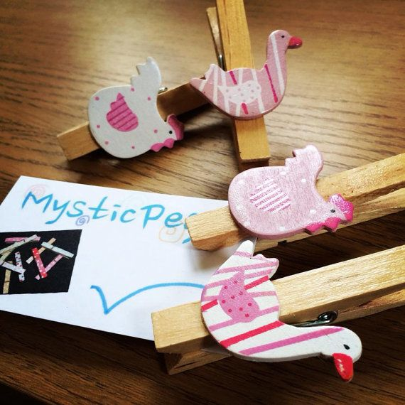 Wooden Clothes Pegs Set of 6 With Wooden Chickens and by MysticPeg