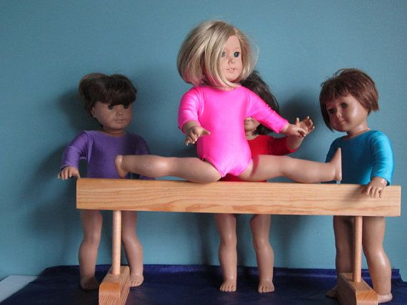 Wood gymnastics balance beam fits all American Girl Dolls