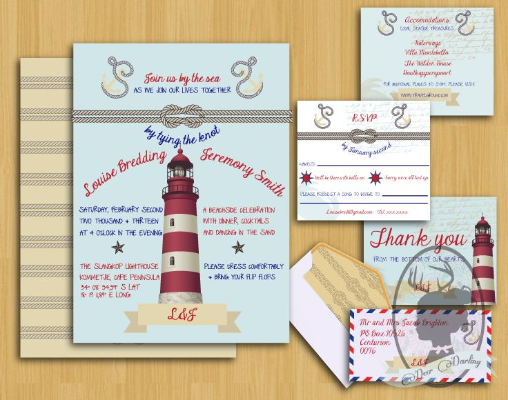Beach Wedding   Lighthouse Wedding Stationery   www.deerdarling.co.za