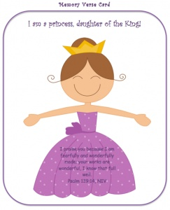 Princess Printables!  I like how this card says daughter of the King.  Precious. #SweetestPrincess